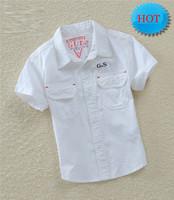 New 2014 Spring autumn brand items white children clothing boys shirts SHORT-sleeve cotton shirt