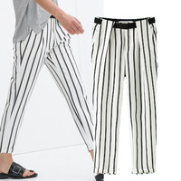 2014 summer new women pants European thin white stripes curling casual harem pants elastic trousers slim trousers
