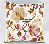 Free Shipping Retro Classic Cotton Flower Embroidery Sofa Decorative Cushion Cover Throw Pillow Case Wholesale HT-CCWEC-B-01