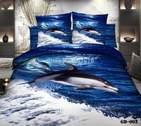 New 4 pcs 3D Home Textile Bedding Set 100% Cotton Reactive Printed Dolphin Bed Set Duvet Cover Flat Bed Sheet Pillow Cases