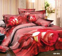 New 4 pcs 3D Bedclothes Bedding Set 100% Cotton Reactive Printing Flower Bed Set Duvet Cover Flat Bed Sheet Pillow Cases