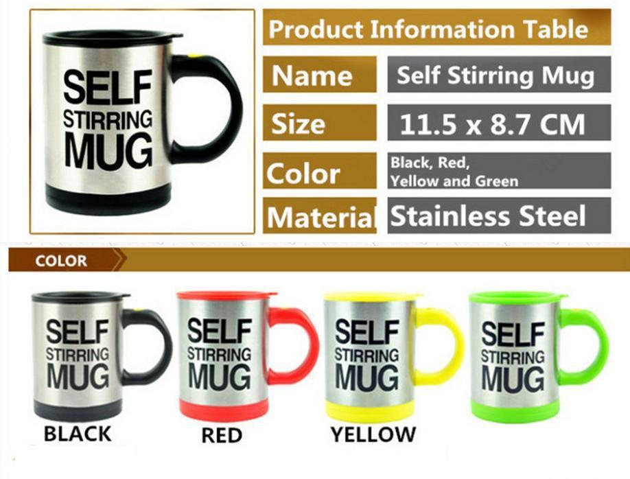 Lazy Auto Self Stirring Mug Tea Coffee Cup Novelty Work Office Gift HQS-G103400 Wholesale Retail(China (Mainland))