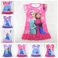 Frozen,Girl Elsa & Anna Princess Girl Dress,New 2014,frozen nightgown,summer,Girl sleepwear,Kids Clothes,kids pajamas