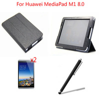 New Luxury Folio PU Stand Leather Case Cover +2xFilm+Stylus For Huawei MediaPad M1 8.0 Inch Tablet PC,Free shipping