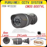 "100% Original 1/4"" CMOS 800TVL IR-CUT Filter 24led IR Day/night outdoor/indoor waterproof CCTV Camera with bracket.free shipping"