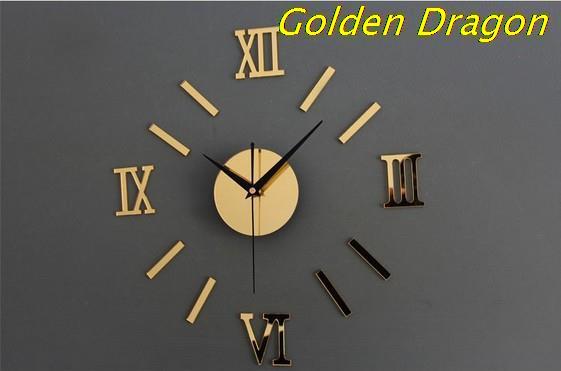 Creative roman digital DIY Personalized Acrylic Wall Art Modern living room wall clock watch big numbers Y003
