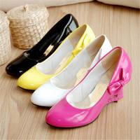 Plus Size 35-43 Women Wedges Shoes Sweet Heart Princess Bow Women Pumps Wedding Shoes