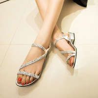 2014 sandals rhinestone female sandals all-match open toe flat low-heeled shoes female