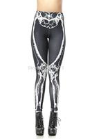 High Quality 2014 Summer Women Leggings 3D Skeleton Printed Sexy High Waist Black Milk Pencil Pants DK135