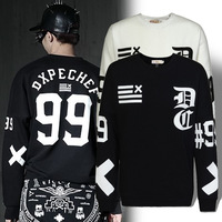 New style autumn -summer sport 2014 letters printed thick winter fleece long sleeve round neck hoodies men's sports hoodies men