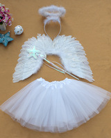 15 sets 52*38CM child white feather wings + head hoop+The magic wand+skirt flower girl dress set angel wing for stage