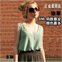 Woman Chiffon Sleeveless Shirt Ladies Tank Tops Tee Plus Loose Long Design Vest Tank Camis