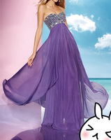 Prom Dresses 2014 A Line Purple Sweetheart Chiffon Sequins Beading Floor Length Party Dresses Women Girl Gown Sexy Dresses