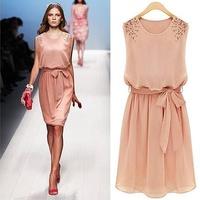 brand women's chiffon dress/sleeveless shoulder beads pleated dress/Artificial pearl trim empire waist tunic evening dress/WTL
