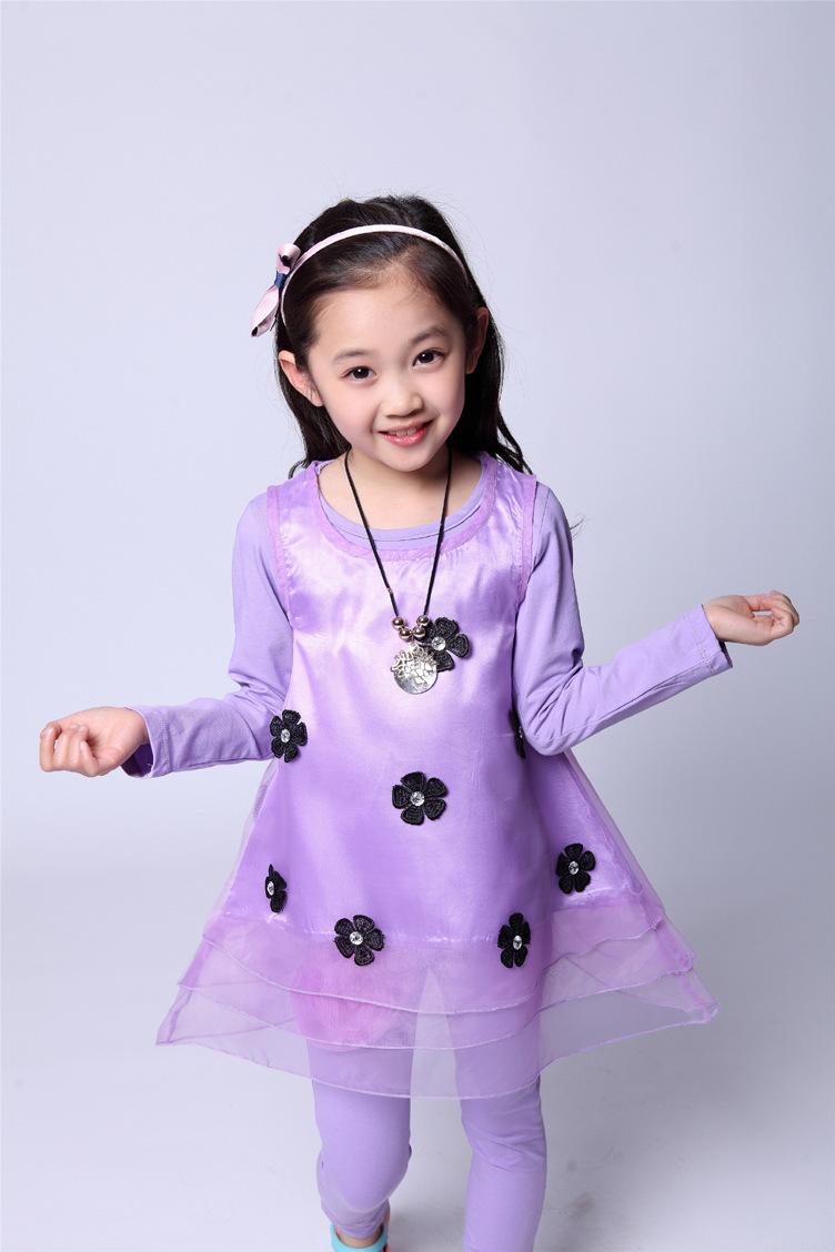 Spring/summer 2014, paragraph Girls sunflower fashionable children's wear suits designs(China (Mainland))