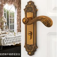Yellow bronze Zinc and copper clad Handle door lock Yellow bronze Both type(latch-bolt+Dead-bolt)Free Shipping(2 pcs/lot)