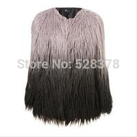 Free Shipping 2014 Autumn Winter Woman Faux Fur Gradient Color Short Jacket Faux Fur For Lady High-Grade Party Faux Fur t039