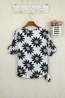 NEW 2014 Hot bubble-sleeved blouses casual chiffon shirt printing letters  top, summer shirts /M/L/XL/XXL/ dropship