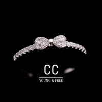 2014 New Simple Fashion Silver Plated CZ Austria AAA Crystal Elegant Bowknot Ring,wedding engagement ring knuckle ring toe ring