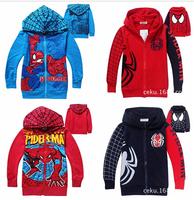 Retail Spiderman coats for children Clothes new 2014 Winter Children's Coat boys hoodie jackets Kids cartoon baby outerwear