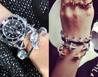 JC100 HOT Gold/Sliver Titan Bracelet Big Spiked Crystal Bracelets Blogger Bracelets 4Pcs/Lot Mix Style Just $6 No Min Order