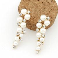 Fashion Mujer Pearl Rhinestones Stud Earrings Jewelry Gold Brincos Grandes Pendientes for Women de festa Accessories 2014