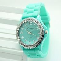 Women Jelly Geneva Quartz Watch Silicone Strap Rhinestone Alloy Case 2014 New Fashion Relogio Feminino Number Casual Wristwatch