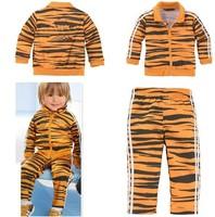 Retail 2014 new brand zebra design children sport suit kids 2pcs set cotton wear hoodies+pants clothing set