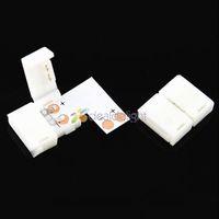 10PCS L Shape 10mm Quick Splitter Right Angle Corner Connector 2-Condusctor for 5050 Single Color LED Strip Light Free Shipping