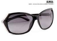 Free Shipping 2014 Female Gradient Polarized Sunglasses Women Large Frame Goggle Eyewear T386 Black Color /Leopard Print