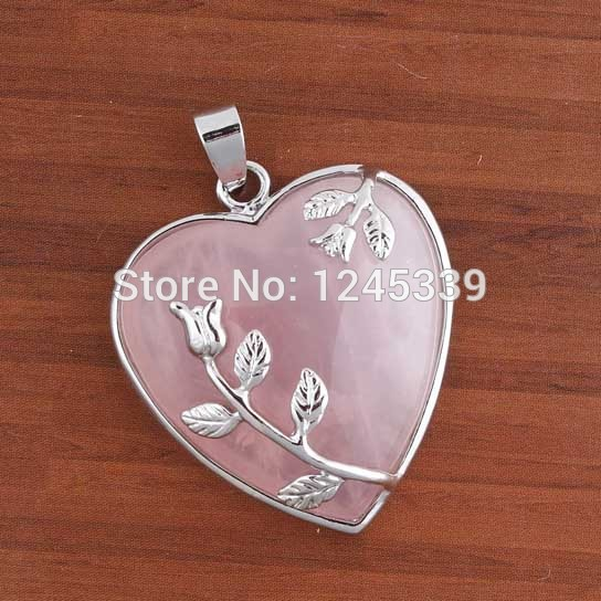 20X Charm Rose Quartz Cabochon Natural Stone Heart Pendant Accessories Silver Plated Flower Fashion Jewelry(China (Mainland))