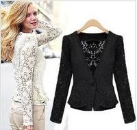 Hot Selling Women Ladies Long Sleeve Floral Lace Peplum Autumn spring Tops Blazer Retro Jacket Outwear White Black coat
