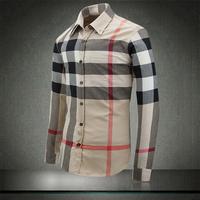 2014 high quality plaid  blouse top classic men plus size long sleeve shirt Slim blue khaki brown plaid shirt men