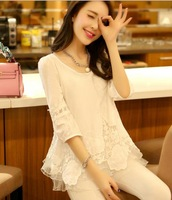 good quality~Korean Fashion lace shirt chiffon new spring 2014 women clothing summer blouse M/L/XL/XXL plus size