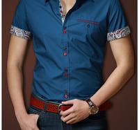1654  Men's short shirt  Casual Shirt Men's England Style Brand Double Collar Shirt