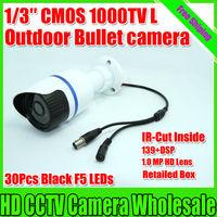 "New CCTV Camera 1/3"" CMOS 1000TVL 960H 139+dsp+ir-cut 30pcs Black IR LEDS 50M Outdoor Meter Bullet CCTV Camera Free Shipping"