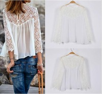 S-XXL,New 2014 casual spring and summer Hollow out fashion lace ladies blouse chiffon shirt white women lace blusas