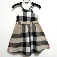 Free shipping 2014 kids plaid dress baby grils dress 100% cotton dress  3 colors  fashion  baby dress suitble1-5years old