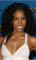 Kelly rowland jet black kinky  curly  virgin brazilian hair lace front wig
