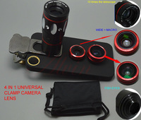 4in1 Fisheye Super Wide Angle Macro Lens Photo Set 10X Telephot lens with cat clip for iPhone Samsung HTC Free Shipping