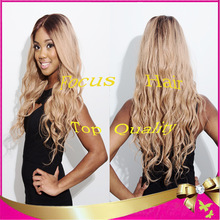 TOP Quality Blonde Malaysian Virgin Human Hair Full Lace/Lace Front Wigs Ombre Two Tone Loose Wave with Bleached Knots Baby Hair(China (Mainland))