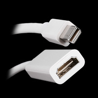 KINGZER 17CM Mini DisplayPort DP to HDMI Adapter 1080P For Apple MacBook White