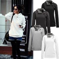 Freeshipping,2014 Korea Women Hoodies & Coats Warm fur Button Outerwear Sweatshirts.Women's Casual hoodies. 5 Colors 5 Sizes
