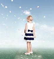 Sleeveless stripe dress pleated Pure cotton baby dress