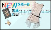 New fashion women Loose chiffon casual sleevesless Blouses O-neck, summer