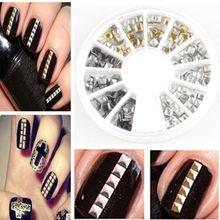 3.0mm Gold Silver Studs Nail Art 3D Design Decoration Stickers Square Punk Rivet(China (Mainland))