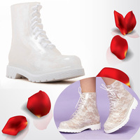 Elegant ladies fashion print rainboots clear rain shoes high-heeled printing Martin boots