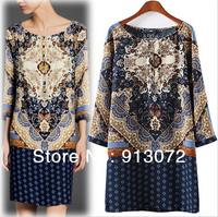 QZ961 New Fashion Ladies' Elegant Vintage Totem print Dress O neck Three Quarter sleeve mini dress casual dress brand design