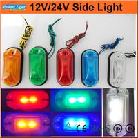 (LA-570) 6ps/lot Truck/Car Lights 2 FU LED Amber Side Marker Light Clearance Lamp 12V E-marked DOT Car Truck Trailer UTE