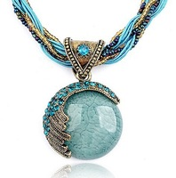 New 2014 Vintage Women Jewelry Gift Bohemia Alloy Crystal Elastic Statement Mediterranean Necklaces & Pendant JN_D_0012